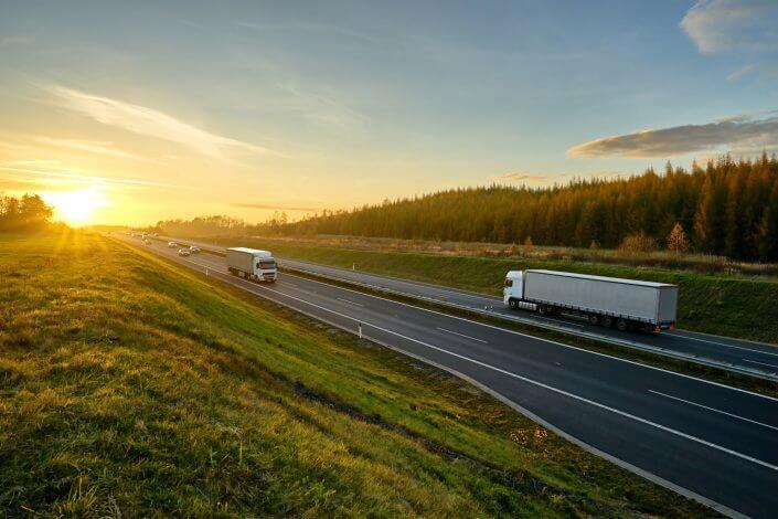 Lastbilar som distribuera bröd genom de svenska skogarna